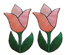 #3927Lp Lot 2Pcs Pink Tulip Flower Embroidery Iron On Applique Patch