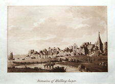 HALLING PALACE  KENT, Samuel Ireland Sepia Aquatint Antique Print 1793