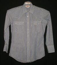 Mens Levis Striped Long Sleeve White Pearl Snap Shirt M 15-15 1/2 C:43 W:39 L:26