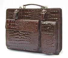 Italienische Leder Kroko Aktentasche Aktenkoffer Tasche braun Ranzen Lackleder