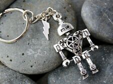 Robot Power Keychain or bag charm/zipper pull - 3D Sci Fi robot, lightning bolt