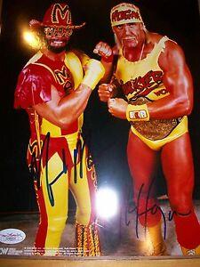 *WWE/WCW HULK HOGAN & MACHO MAN RANDY SAVAGE HOF DUAL SIGNED MEGAPOWERS W/ JSA*