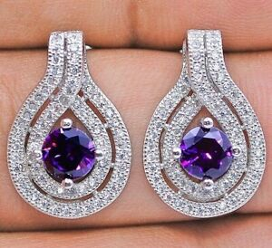 2CT Amethyst & White Topaz 925 Solid Sterling Silver Earrings Jewelry, V9
