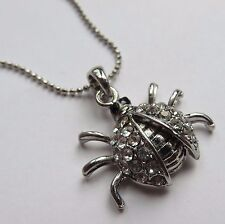 SILVER COLOURED DIAMANTE LADYBIRD / LADY BUG PENDANT NECKLACE new gift pouch