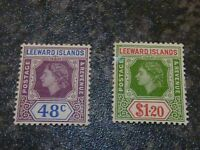 LEEWARD ISLANDS POSTAGE & REVENUE STAMPS SG136 &138 LIGHTLY MOUNTED MINT