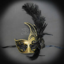 Feather Venetian Mardi Gras Masquerade Mask for Women Gold Black M6131