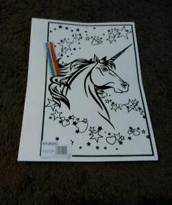 Large Unicorn Velvet Colouring Picture Board. Design As Shown.