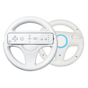 White Racing Mario Kart Game Steering Wheel for Nintendo Wii Remote Controller