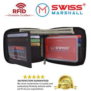 Genuine Cowhide Leather Mens Zipper Zip-Around Bifold Popular Card Holder Wallet