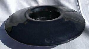 Vintage Davidsons Black Glass Flower Bowl No Frog In Good Condition