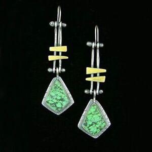 Chinese Style Dangle Drop Hook Earrings Green Resin Ethnic Vintage Jewellery B