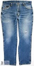 Vintage Wrangler Men Mid Blue Stonewashed Jeans Ripped W37 L31.5 High Waisted