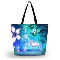 Women's Large Zipper Handbag Shopping Bag Tote Shoulder Beach unicorn bag Case