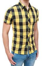 Camisa Hombre Diamond Casual Amarillo Negro Cuadros Slim Fit Ajustado MAN'S