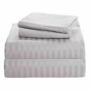 Home Collection UK All Size 1000 TC 100% Egyptian Cotton Light Grey Striped