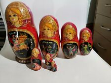 """Russian Matryoshka 7 piece Fairy Tales Nesting Doll Handmade Signed - 1996 8"""""""