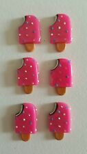 6 pink lollypop ice cream Resin Flatback Craft Card Embellishments.14mm x 25mm