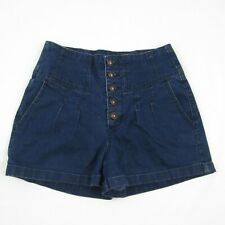 Pins Needles Button Front High Waist Shorts Size 26 Urban Outfitters Dark Wash