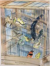 Raoul Dufy (1877-1953) Modernist Color Lithograph of Birds in a Bird Cage, 1939