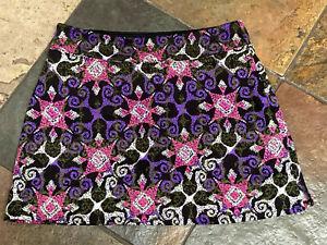 0721 TRANQUILITY Medium Pink & Purple Floral Design Tennis Golf Skirt Skort