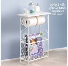 Toilet Paper And Magazine Holder Table With Scrolling Design-White