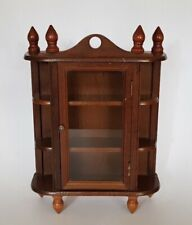 QUALITY WOODEN WALL MOUNT CASE DISPLAY CABINET GLAZED WITH SHELVES THIMBLES ETC