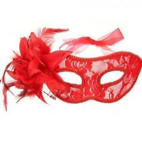 Masquerade Mask Feathers Lace Rhinestone Masquerade Venetian Costume Party Mardi