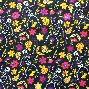New Black Gothic Skeleton Floral PolyCotton FABRIC Material Reduced Prices Craft