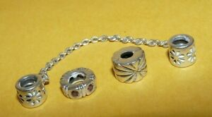 ~3~AUTHENTIC~PANDORA~ALE~925~STERLING~ORNATE~CHARM~CHAIN~LINK~RUBY~CZ~(LOT #1)~