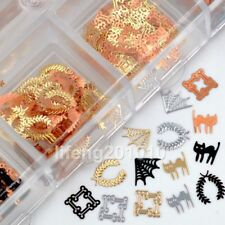 Mixed design Black Gold Silver metal nail art decoration slice foil sequin decal