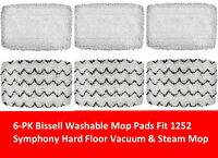 6 PK Bissell Washable Mop Pads Compatible 1252 Symphony Hard Floor