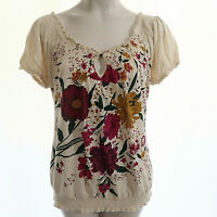 Lucky Brand XL Top Peasant Boho Floral Graphic Print Short Sleeve Stretch Womens