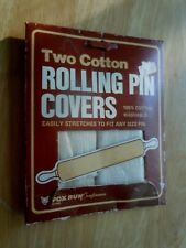 2 Vintage 1985 Cotton Rolling Pin Covers Washable Reusable Fox Run USA NEW