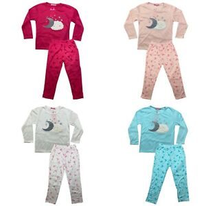Girls Pyjamas Long Sleeve Top Bottom Kids Set Nightwear Jersey PJs Cotton Moon