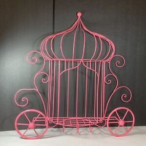 """HOME DECOR PINK PRINCESS CINDERELLA'S CARRIAGE WIRE WALL HANGING SHELF 22"""""""