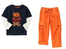 Gymboree S'more Style More Tee Shirt & Orange Corduroy Pants Set Boys 5T NEW NWT