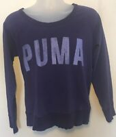 Puma Womens Pullover Shirt Purple Spell Out Long Sleeve womens Size L Dry Cell