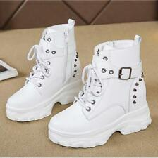 Gothic Women Platform Lace Up Rivet Buckle Round Toe Punk Motorcycle Ankle Boots