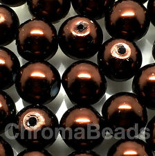 10mm Glass faux Pearls - Mahogany Brown (40 round pearl beads) jewellery making