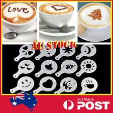 16pcs Cappuccino Coffee Milk Cake Cupcake Powder Stencil Template Duster Shaker