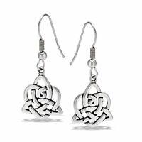 Celtic Heart Love Knot Earrings Hypoallergenic Surgical Stainless Steel Dangle