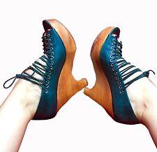 Jeffery Campbell Corset Platform, Wedge Women's Leather Shoes Size 8M