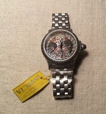 Invicta Silver Tone Stainless Steel Model 19857 Skull Skeleton Quartz Mens Watch