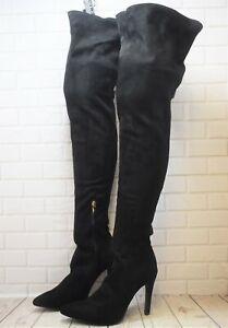 Womens Black Zip Up Very High Heel Thigh High Boots Size UK 7 EUR 41