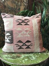 More details for vintage kilim covered feather filled cushion turkish/moroccan/afghan (no.19)