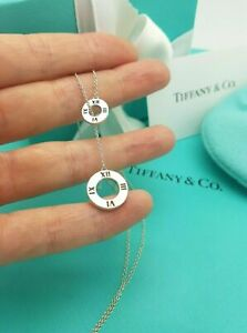 Tiffany & Co. Rare Silver Atlas Pierced Circles Lariat Pendant Necklace, Receipt