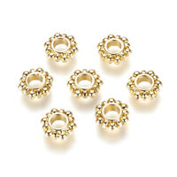 10pcs Gold Tone Alloy Flower Metal European Beads Large Hole Loose Charms 12x4mm
