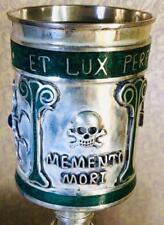 Unique antique Templar/Masonic Memento Mori Skull silvered&Malachite goblet
