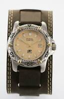 Fossil Blue Watch Men Brown Leather Stainless Silver Gold Date 50m Beige Quartz