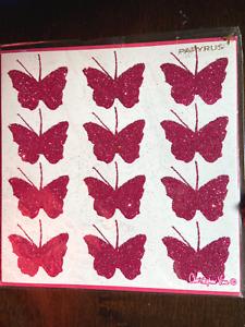 Papyrus Christopher Vine Blank Card - Dozen elegant pink glitter butterflies
